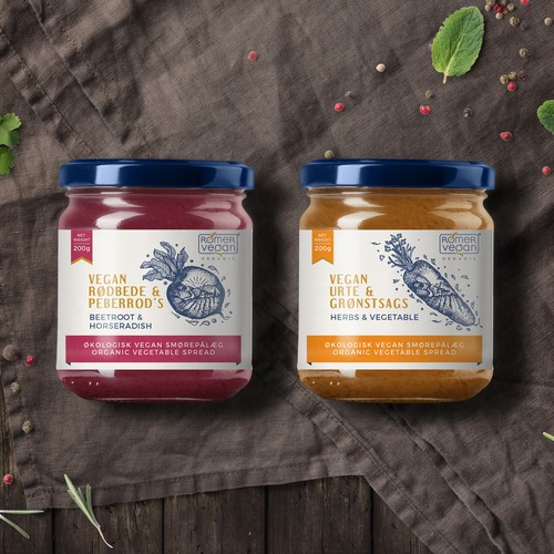 Intricate design with the title 'Label design for Vegan spreads'