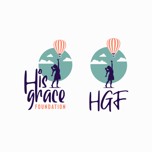 Hot air balloon design with the title 'Girl and balloon logo'