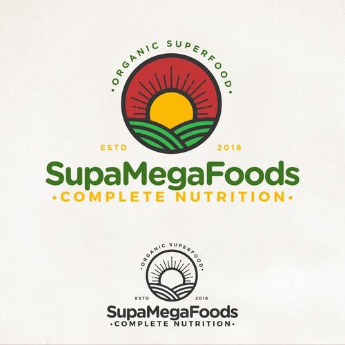 Organic food logo with the title 'Supa Mega Foods'