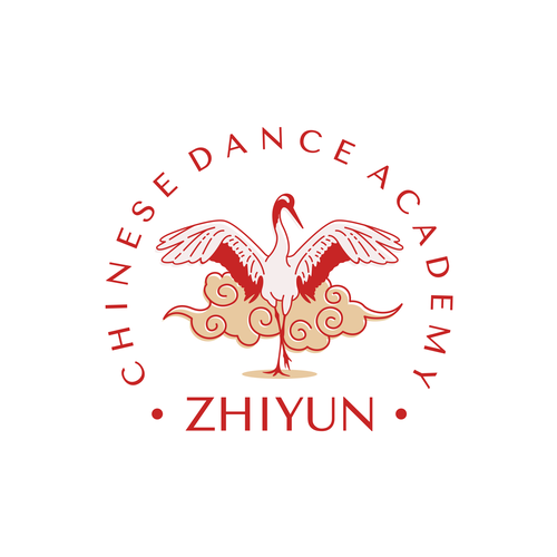 Crane logo with the title 'Logo Concept for Zhiyun Chinese Dance Academy'