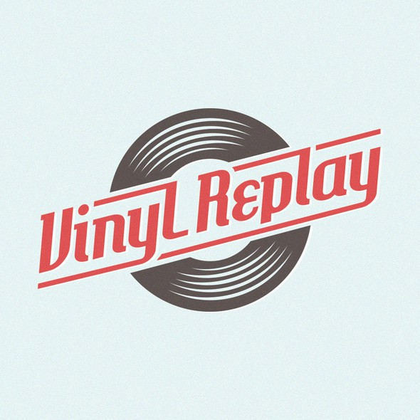 Vinyl design with the title 'Rock and roll logo for Vinyl Replay'