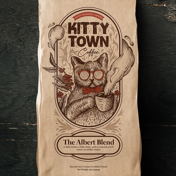 Cat packaging with the title 'Kitten Town Coffee'
