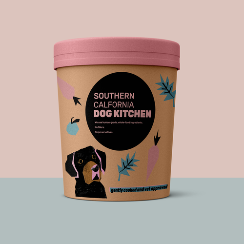 Linocut design with the title 'Frozen Dog Food Packaging'