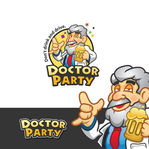 Drinking design with the title 'logo and character design for The Party Brand, DOCTOR PARTY'