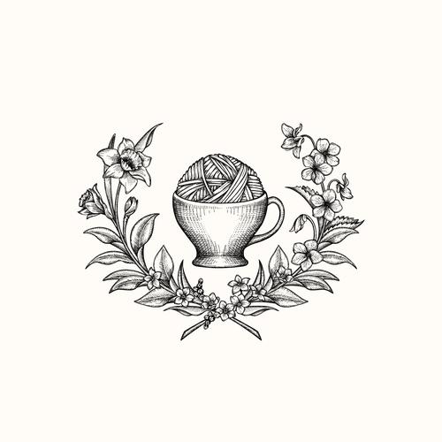 Tea design with the title 'Earl Grey Fiber Co. - logo upgrade'