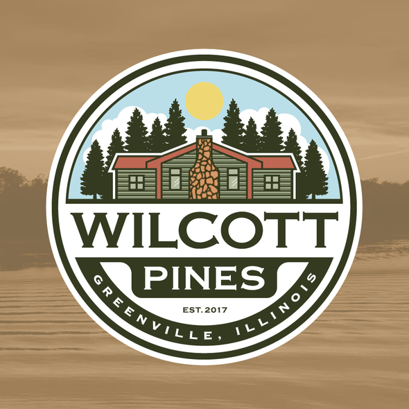 Cabin logo with the title 'logo design for vacation property'