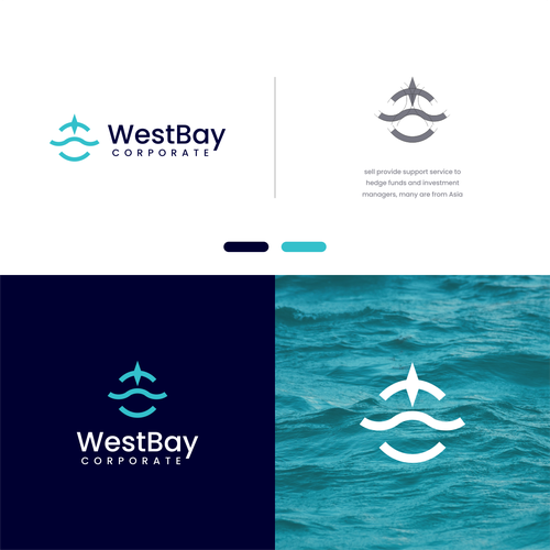 Wave brand with the title 'logo concept : W + wave + compass'