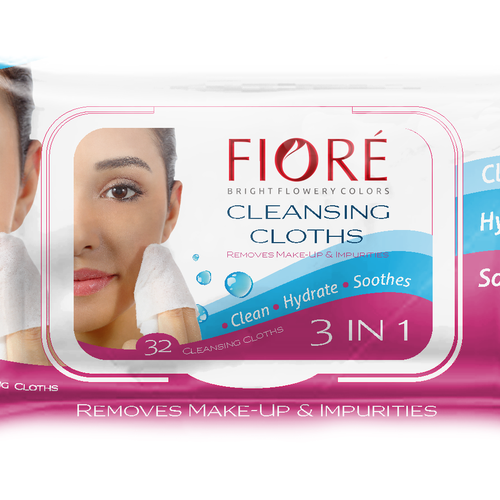 Makeup packaging with the title 'Packaging for cleansing cloths.'