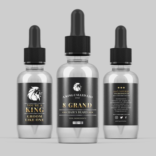 Beard label with the title '8 GRAND HAIR X BEARD OIL'