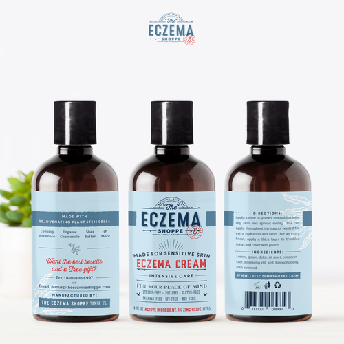 Apothecary label with the title 'The Eczema Shoppe'