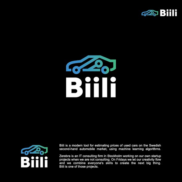 Art line design with the title 'High-Tech Logo for second-hand automobile website.'