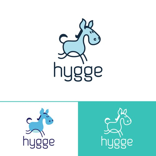 Donkey design with the title 'hygge'