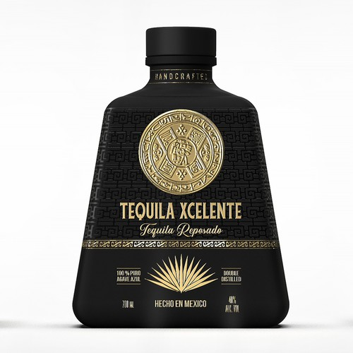 """3D packaging with the title 'Luxurious design for our premium spirit """"Tequila Xcelente""""'"""