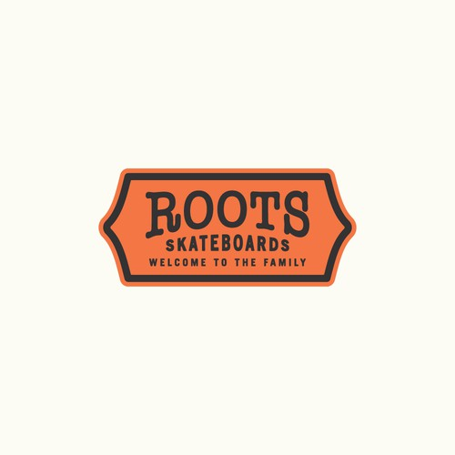 Skater logo with the title 'Roots Skateboards Logo Design'