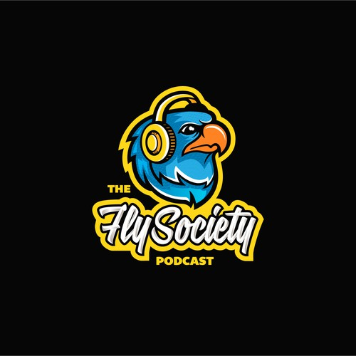 Headphone logo with the title 'The Fly Society Podcast'