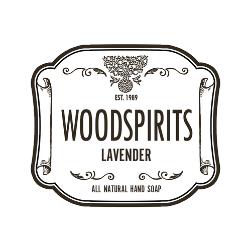 Soap label with the title 'product label for Woodspirits'