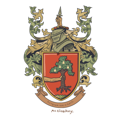 Line drawing artwork with the title 'A crest design for an Irish Family'