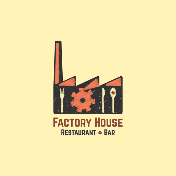 Gear logo with the title 'Industrial Style Trendy Restaurant Serving Comfort Food with a Twist-Logo Design'