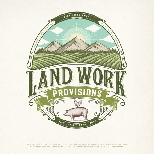 Cattle logo with the title 'LAND WORK PROVISIONS LOGO PROPOSAL'