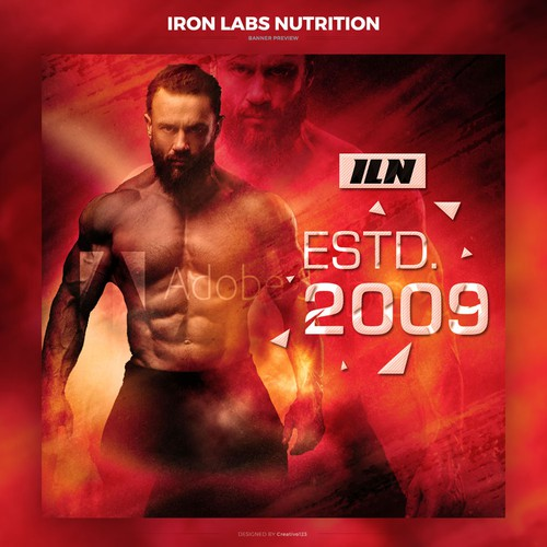 Sporty design with the title 'Bold Design for Sports Nutrition Brand'