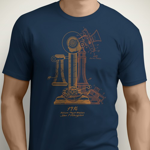 Telephone design with the title 'Telephone patent tee'
