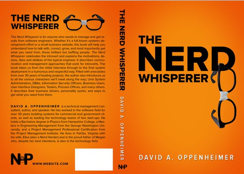 Orange book cover with the title 'The Nerd Whisperer by David A. Oppenheimer'