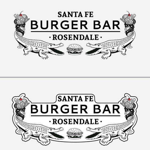 Alligator logo with the title 'Logo Concept for Santa Fe Burger Bar - Fourth Pass'