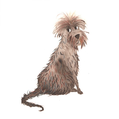 Book illustration artwork with the title 'Dog character'