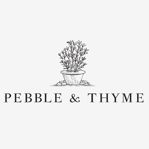 Vintage logo with the title 'Logo Design for Pebble & Thyme'