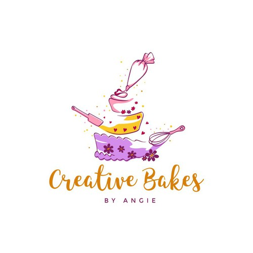 Magical logo with the title 'Creative and happy bakery logo'