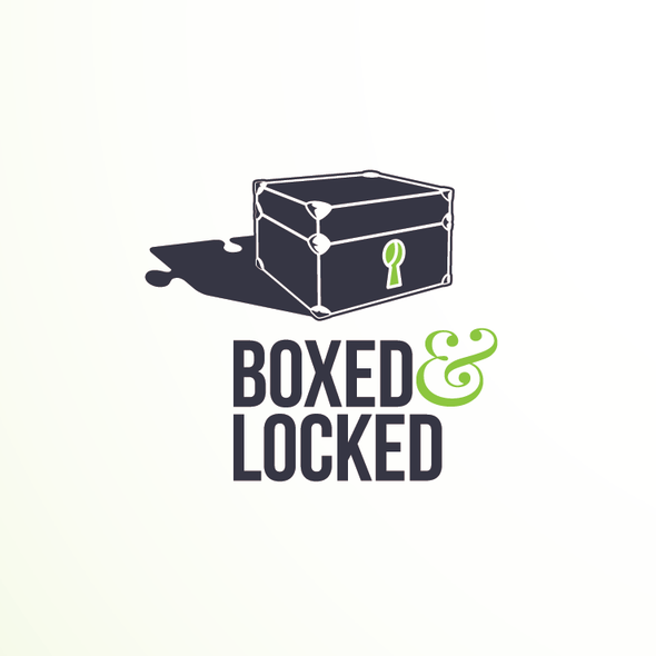 Puzzle design with the title 'Logo for Escape Room Concept, Boxed & Locked'
