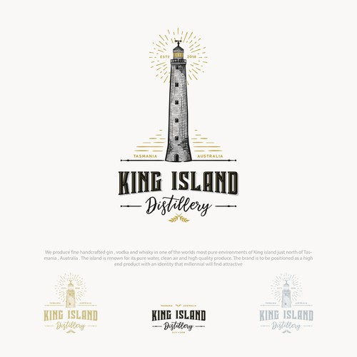 Vodka logo with the title 'Logo for King Island Distillery with a hand drawn illustration of Cape Wickham Lighthouse'