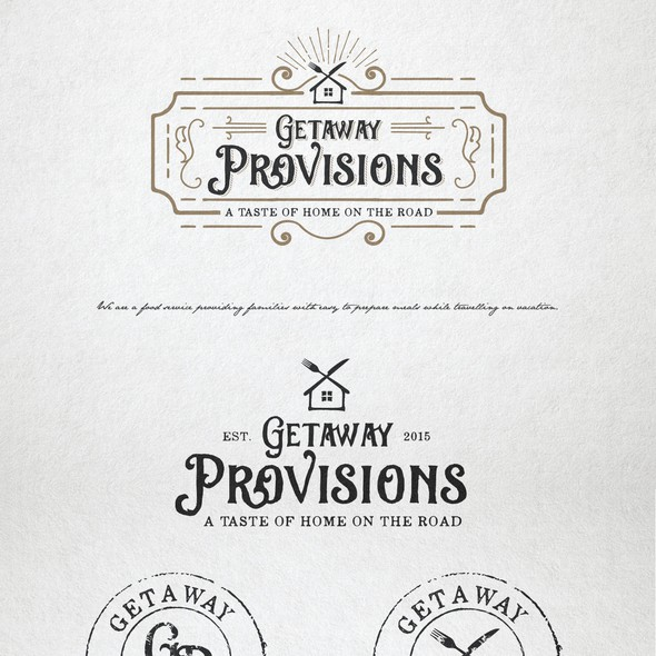Food service design with the title 'Logo design for Getaway Provisions'