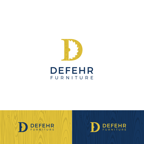 Saw blade logo with the title 'Defehr Furniture logo'