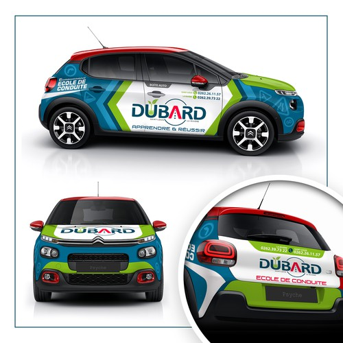 Vehicle graphic design with the title 'BUBARD Vehicle Wrap'
