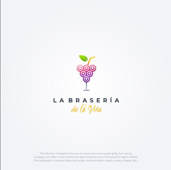 Glass logo with the title 'La Brasería de la Viña'