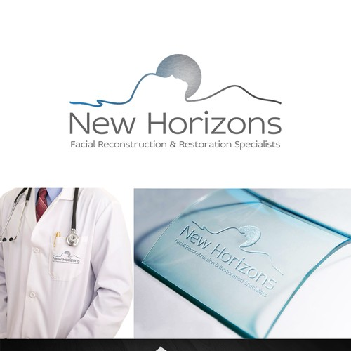 Surgical design with the title 'New Horizons Facial Specialists Logo'