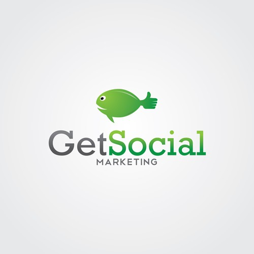 Green and grey logo with the title 'The Big Fish of Social Marketing '
