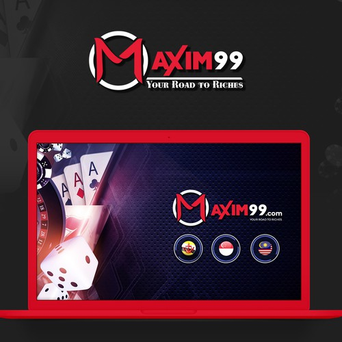 Casino design with the title 'MAXIM99 - online gambling website'