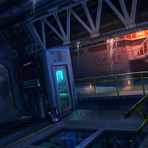 Sci-fi artwork with the title 'Concept Art of Underwater Research Station #1'