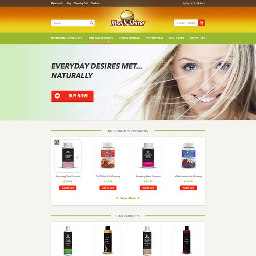 Beauty product website with the title 'Home Page Web Design for unique online healthy and beauty products'