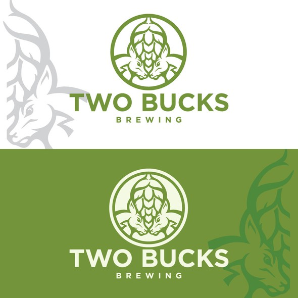 Buck logo with the title 'two bucks beer'