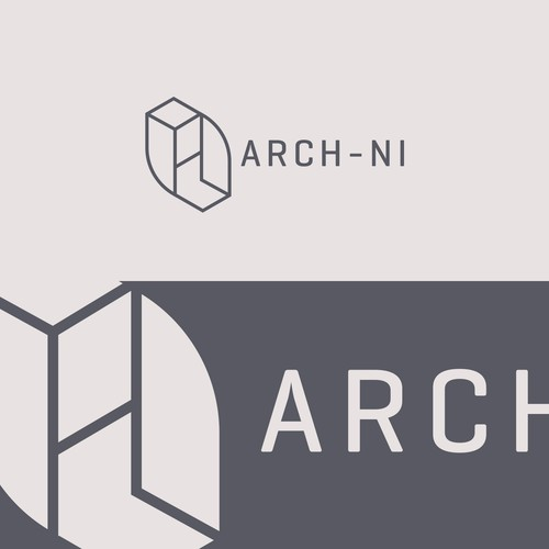 Building logo with the title 'Isometric logo for Architecture firm'