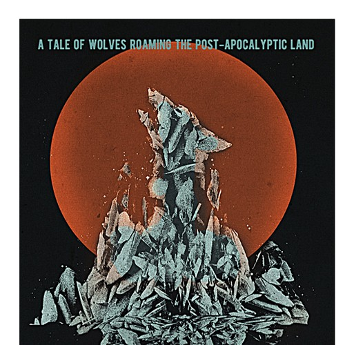 Wolf book cover with the title 'An Eye-catching E-book Design for Story about Wolves Roaming a Post-apocalyptic Town'
