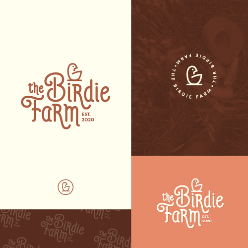 Hen design with the title 'The Birdie Farm'