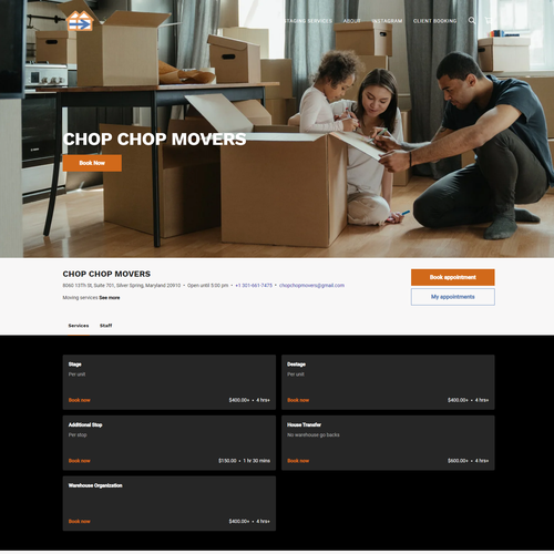 Warehouse design with the title 'SQUARE ONLINE STORE   Design for Chop Chop Movers'