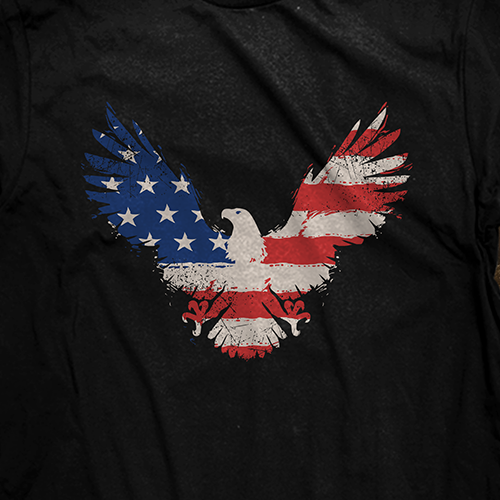 American t-shirt with the title 'patriotic eagle'