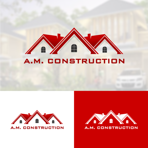 Property management logo with the title 'a.m construction'