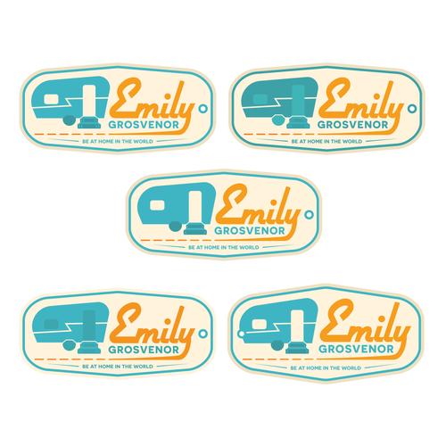 Caravan design with the title 'Vintage logo variations for travel writer'