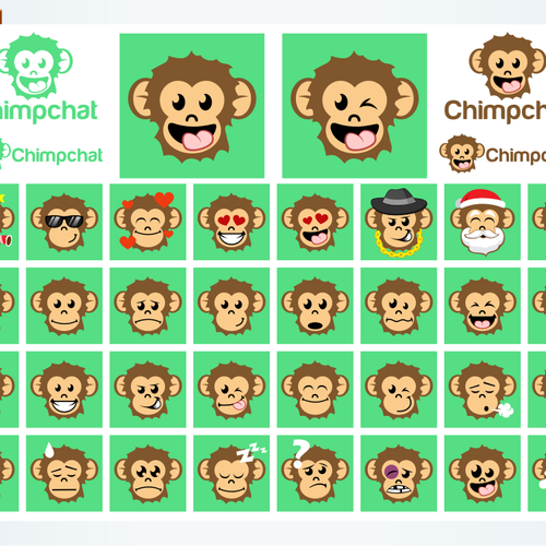 Monkey logo with the title 'chimpchat emoticon design'
